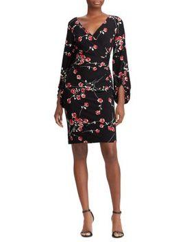 Floral Jersey Surplice Sheath Dress by Lauren Ralph Lauren