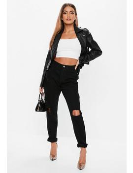 Black Riot Ripped Knee High Rise Mom Rigid Jeans by Missguided
