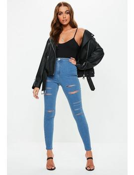 Blue Vice Multi Rip High Waisted Skinny Jeans by Missguided