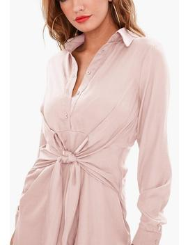 Pink Tie Waist Shirt Dress by Missguided