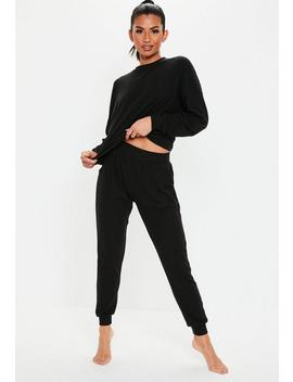 Black Soft Ribbed Lounge Set by Missguided