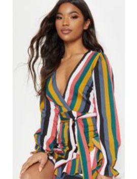 Stripe Tie Waist Dress by Prettylittlething