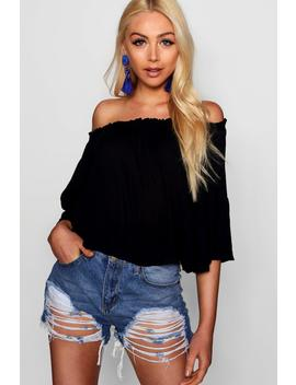 Off The Shoulder Top With Flared Sleeve by Boohoo