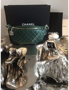 Nwt Chanel Dark Green Waist Bag 18 K Belt Bum Fanny Pack Gold Travel Rare 2018 by Chanel