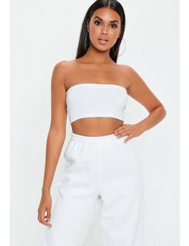 Petite White Basic Bandeau Top by Missguided