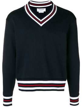 Cricket Stripe Oversized Pullover by Thom Browne