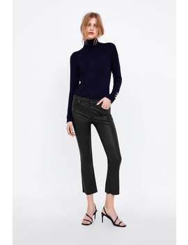 Zw Premium Bootcut Cropped Jeans In Coated Black  Starting From 70 Percents Offwoman Sale by Zara