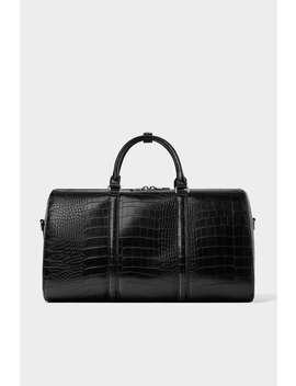 Black Bowling Bag With Reptile  Effect Embossingnew In Man New Collection by Zara