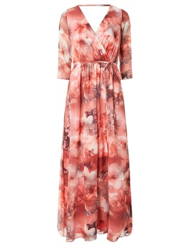 **Showcase Coral Chiffon 'maya' Maxi Dress by Dorothy Perkins