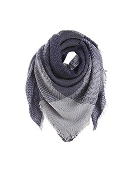 Napoo Women Colorful Stitch Plaid Cashmere Wool Shawl Long Neck Scarf by Napoo