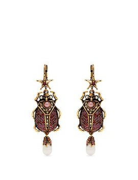 Crystal Embellished Beetle Drop Earrings by Alexander Mc Queen