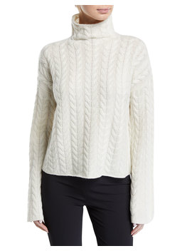 Horseshoe Cable Turtleneck Bell Sleeve Sweater by Neiman Marcus