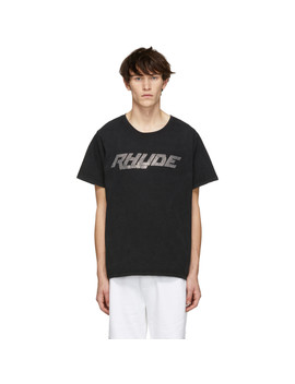 Black Rhinestone Logo T Shirt by Rhude