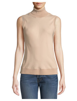 Silk Bias Turtleneck Sleeveless Top by Theory