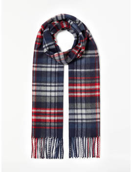 John Lewis & Partners Cristallo Check Cashmink Scarf, Navy/Red by John Lewis & Partners