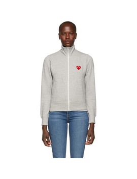 Grey Heart Patch Zip Up Jacket by Comme Des GarÇons Play