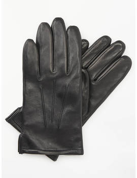 John Lewis & Partners Fleece Lined Leather Gloves, Black by John Lewis &Amp; Partners