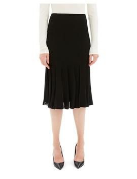 Pleated Viscose Knee Length Skirt by Theory