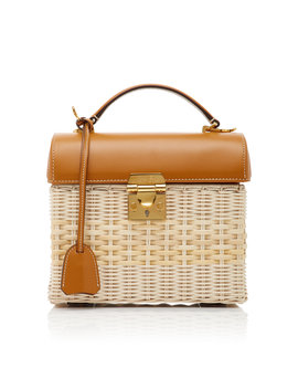 Sara Leather Trimmed Rattan Bag by Mark Cross