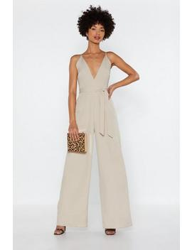 Wide In There V Neck Jumpsuit by Nasty Gal