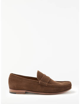 John Lewis & Partners Louis Suede Penny Loafers, Tobacco by John Lewis &Amp; Partners