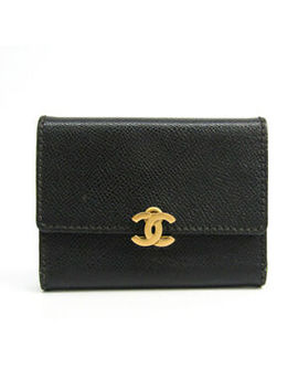Chanel Leather Card Case Black Folding In Three Bf324395 by Chanel