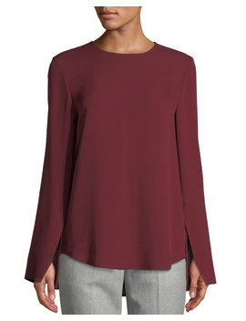 Bringham Crewneck Long Sleeve Classic Silk Georgette Blouse by Theory