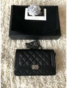 Beautiful Chanel Le Boy Black Caviar Leather Silver Hardware Wallet On Chain Woc by Chanel