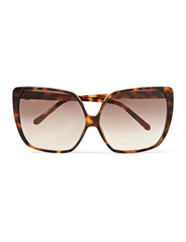 Oversized Square Frame Tortoiseshell Acetate Sunglasses by Linda Farrow