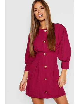 Petite Button Detail Shift Dress by Boohoo
