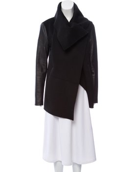 Leather Trimmed Wool Coat by Mackage
