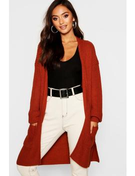 Petite Thick Knit Open Cardigan by Boohoo
