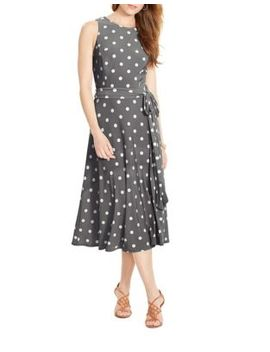 Polka Dot Crew Neck Dress by Lauren Ralph Lauren
