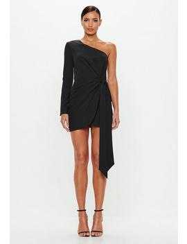 Peace + Love Black Wrap One Shoulder Mini Dress by Missguided