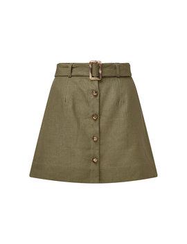Belted Linen Mini Skirt by Lisa Marie Fernandez