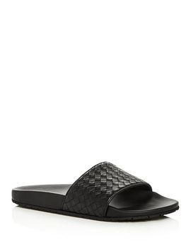 Men's Woven Leather Slide Sandals by Bottega Veneta