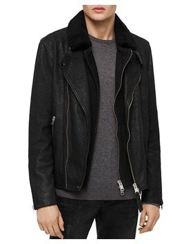Hanoi Leather Layered Look Biker Jacket by Allsaints
