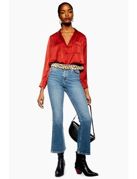 Petite Mid Stone Jamie Flares by Topshop