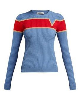 Logo Intarsia Ribbed Knit Sweater by Valentino