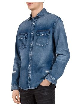 Distressed Denim Regular Fit Button Down Shirt by The Kooples