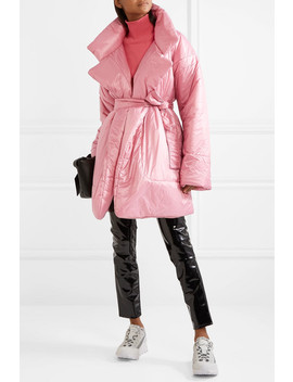 Belted Quilted Shell Coat by Norma Kamali