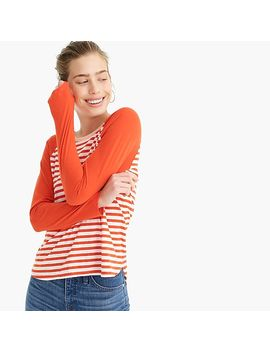 Contrast Slub Cotton Long Sleeve Ringer T Shirt In Stripes by J.Crew