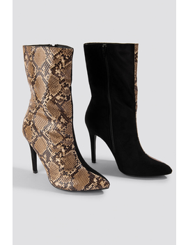 Two Colour Stiletto Boot by Na Kd Shoes