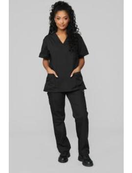 Miracle Worker Classic Scrub Set   Black by Fashion Nova