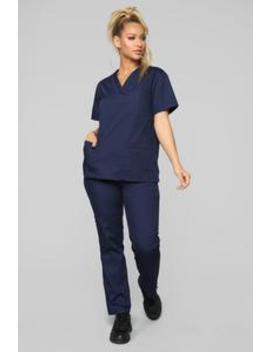Miracle Worker Classic Scrub Set   Navy by Fashion Nova