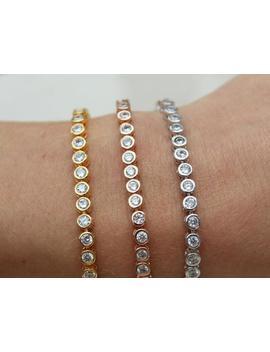 Cz Line Bracelet , Cubic Zirconia Tennis Bracelet , Crystal Bracelet , Silver Bracelet  Stone Bracelet  Bridal Bracelet , Rose Gold , Silver by Etsy
