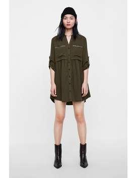 Koszulowa Sukienka Z Koralikami  Mini Sukienki Kobieta WyprzedaŻ by Zara
