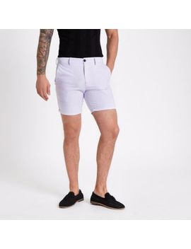 Purple Slim Fit Oxford Chino Shorts by River Island