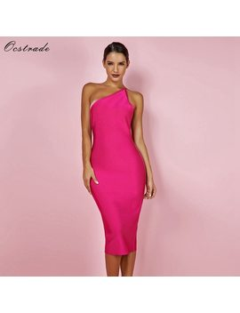Ocstrade Fashion Celeb Bandage Dress 2018 Hot Pink Backless Maxi Bandage Dress Bodycon Sexy Women One Shoulder Bandage Dress  by Ocstrade