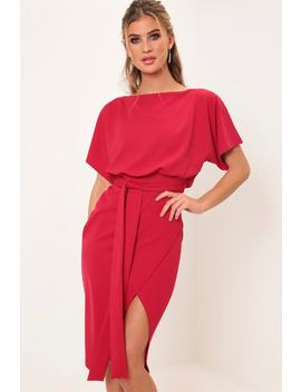 Red Belted Midi Dress by I Saw It First